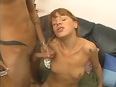 Horny shemale get face cum blasted
