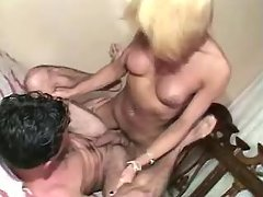 Shemale fucks dude and cums on him